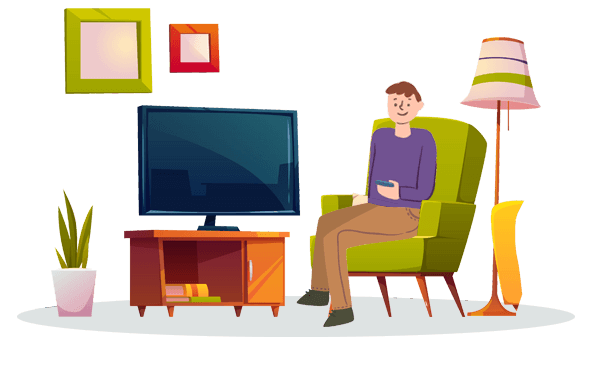 A Man is Sitting On A Sofa and Watching TV In Living Room
